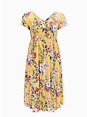 Yellow Floral Challis Smocked Midi Dress, FLORAL - YELLOW, hi-res