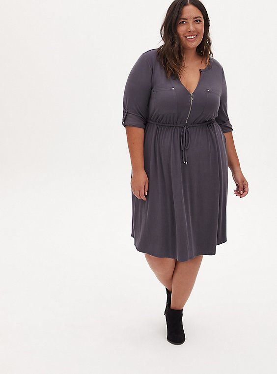 Plus Size Dark Slate Grey Cupro Zip Front Drawstring Shirt Dress, NINE IRON, hi-res