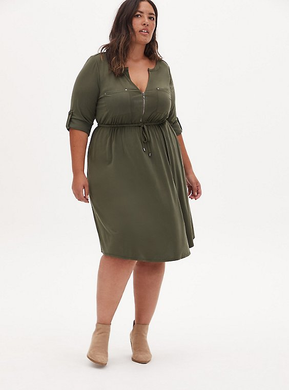 Olive Green Cupro Zip Front Drawstring Shirt Dress, , hi-res
