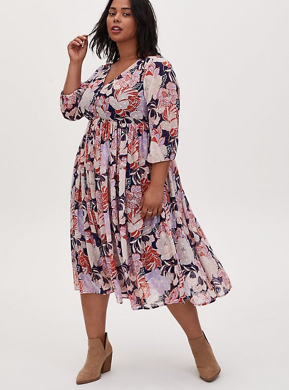 Plus Size Navy Floral Swiss Dot Button Down Tea Length Dress, FLORAL - BLUE, hi-res