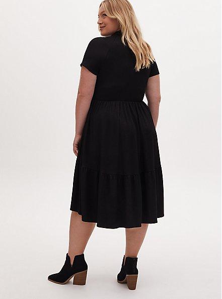 Black Slub Rib Shirred Hem Skater Dress, DEEP BLACK, alternate