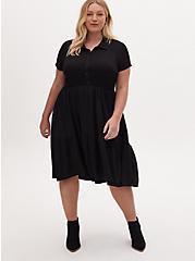Black Slub Rib Shirred Hem Skater Dress, DEEP BLACK, hi-res