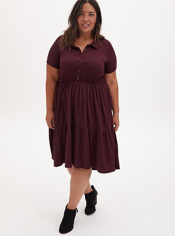 Burgundy Purple Slub Rib Shirred Hem Skater Dress, WINETASTING, hi-res