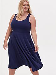 Navy Cupro Midi Dress, PEACOAT, alternate