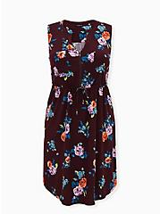 Burgundy Purple Floral Challis Zip Front Drawstring Shirt Dress, FLORAL - PURPLE, hi-res