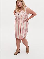 Plus Size Red & Ivory Stripe Challis Zip Front Drawstring Shirt Dress, STRIPE-PINK, hi-res