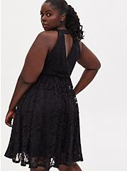 Black Lace Keyhole Skater Dress, DEEP BLACK, alternate