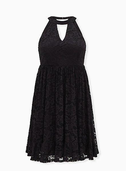 Black Lace Keyhole Skater Dress, DEEP BLACK, hi-res