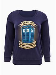 Her Universe Doctor Who Tardis Navy Fleece Sweatshirt, PEACOAT, hi-res