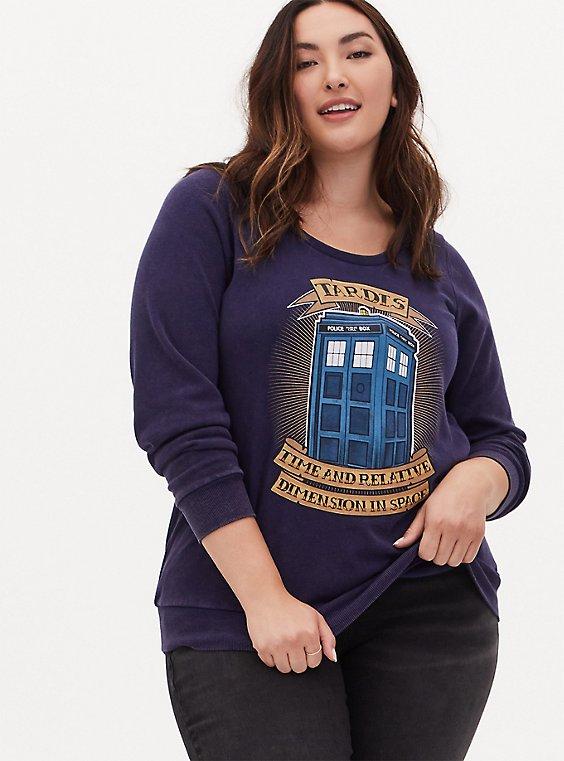 Her Universe Doctor Who Tardis Navy Fleece Sweatshirt, , hi-res