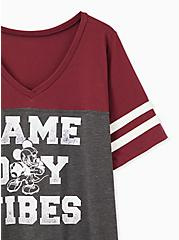 Plus Size Disney Mickey Mouse Game Day Vibes Burgundy Purple Jersey Football Top, GREY, alternate
