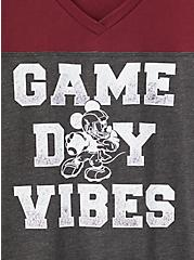 Disney Mickey Mouse Game Day Vibes Burgundy Purple Jersey Football Top, GREY, alternate