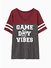 Plus Size Disney Mickey Mouse Game Day Vibes Burgundy Purple Jersey Football Top, GREY, hi-res