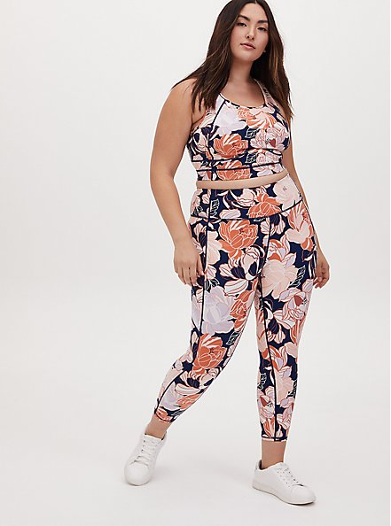 Navy & Peach Floral Crop Wicking Active Legging with Pockets, FLORAL - PINK, alternate