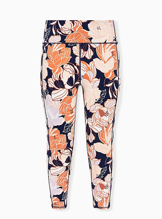 Navy & Peach Floral Crop Wicking Active Legging with Pockets, , flat
