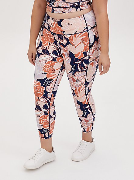 Navy & Peach Floral Crop Wicking Active Legging with Pockets, FLORAL - PINK, hi-res