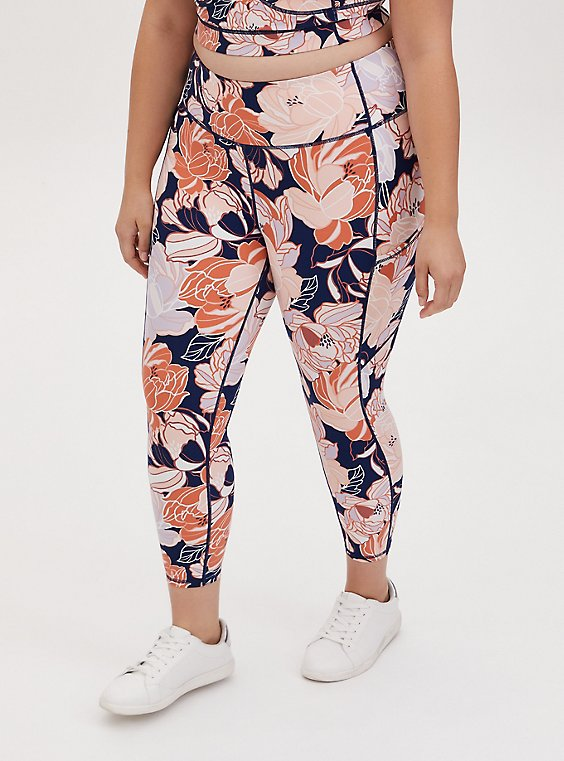 Navy & Peach Floral Crop Wicking Active Legging with Pockets, , hi-res