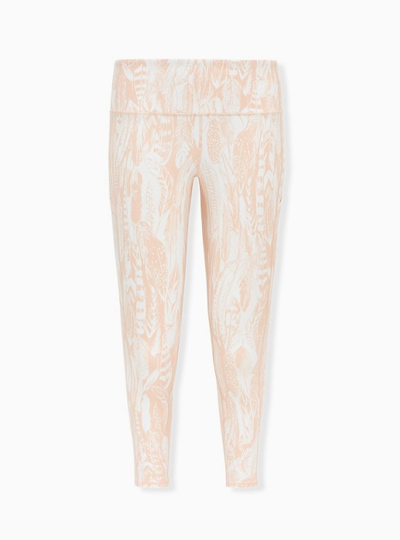 Light Pink Feather Crop Wicking Active Legging with Pockets, , flat