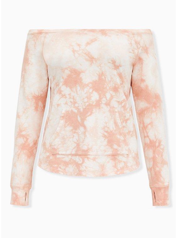 Light Pink Tie-Dye Terry Off Shoulder Active Sweatshirt, , flat