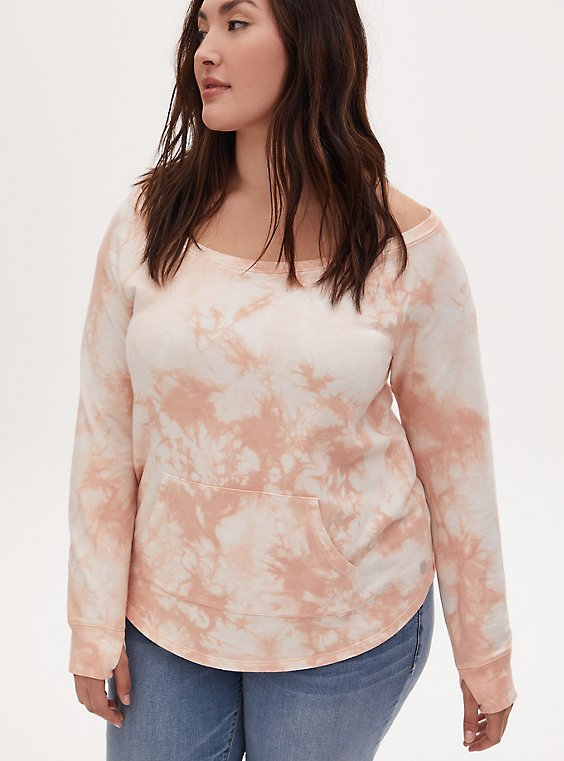 Light Pink Tie-Dye Terry Off Shoulder Active Sweatshirt, , hi-res