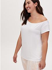 White Off Shoulder Wicking Active Tee, BRIGHT WHITE, alternate