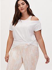 White Off Shoulder Wicking Active Tee, BRIGHT WHITE, hi-res