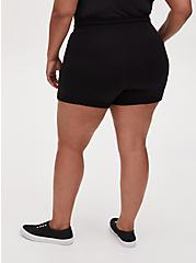Black Terry Drawstring Active Mid Short, DEEP BLACK, alternate