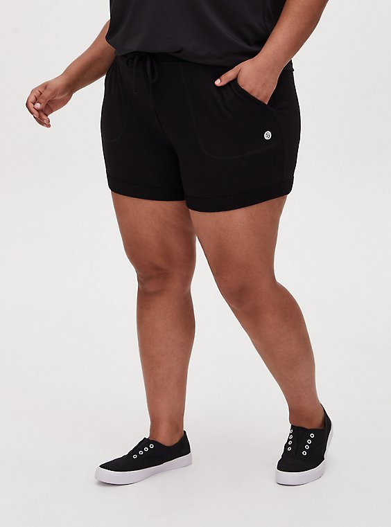 Black Terry Drawstring Active Mid Short, , hi-res