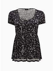 Disney The Jungle Book Black Jersey Button Front Babydoll Tee, MULTI, hi-res
