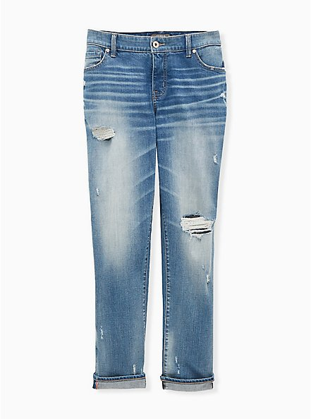 Boyfriend Straight Jean - Vintage Stretch Medium Wash, KARMA, hi-res