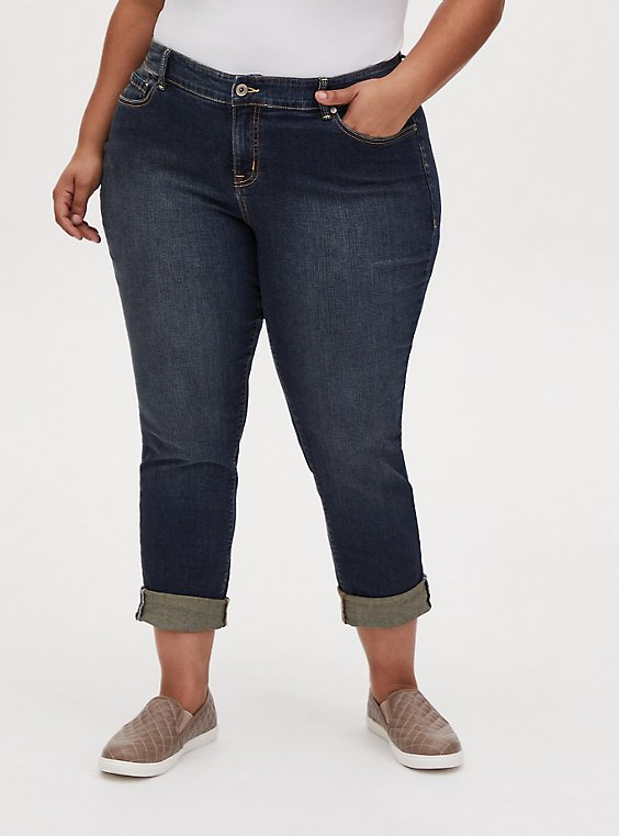 Boyfriend Straight  Jean - Vintage Stretch Dark Wash, , hi-res