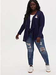 Disney Lilo & Stitch Embroidered Lilo and Scrump Navy Hacci Drape Front Cardigan, PEACOAT, alternate