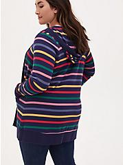 Plus Size Her Universe Doctor Who Rainbow Stripe Hooded Cardigan, RAINBOW, alternate