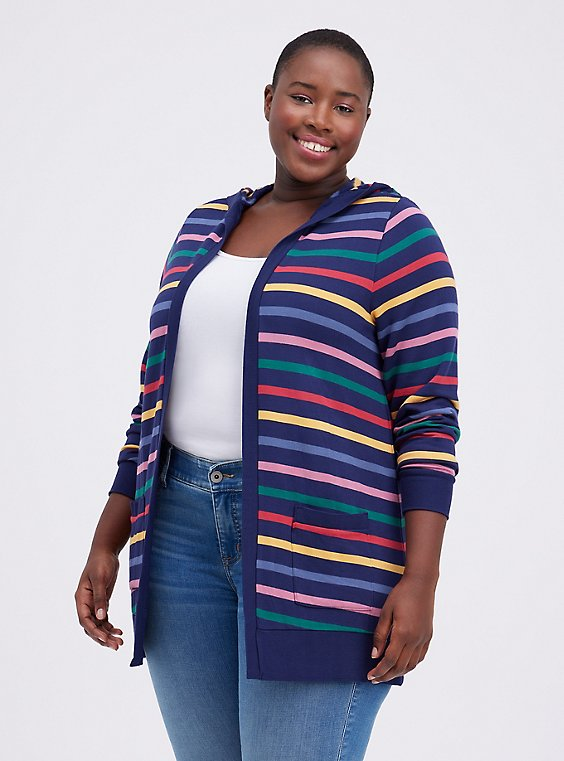 Plus Size Her Universe Doctor Who Rainbow Stripe Hooded Cardigan, RAINBOW, hi-res