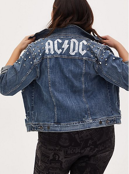 AC/DC Stud Denim Jacket - Light Wash, LIGHT WASH, hi-res