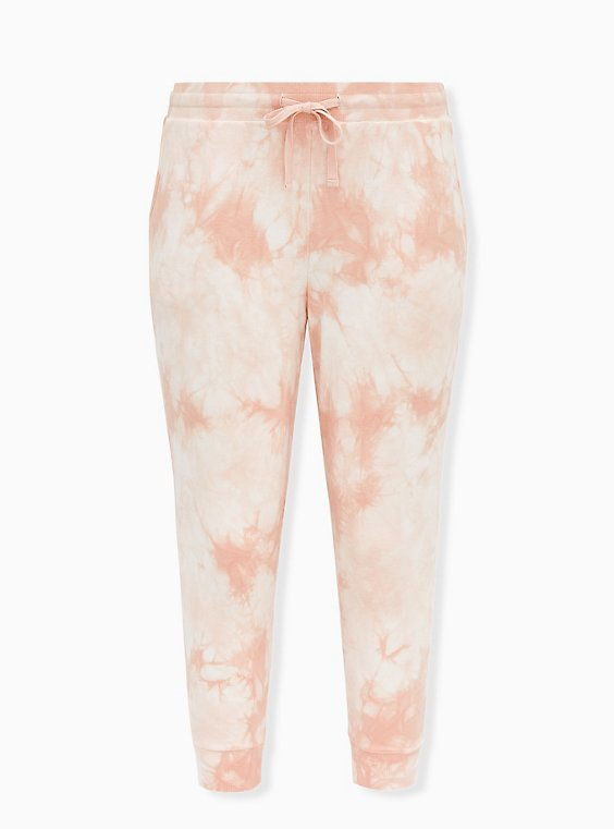 Light Pink Tie-Dye Terry Active Jogger, , flat
