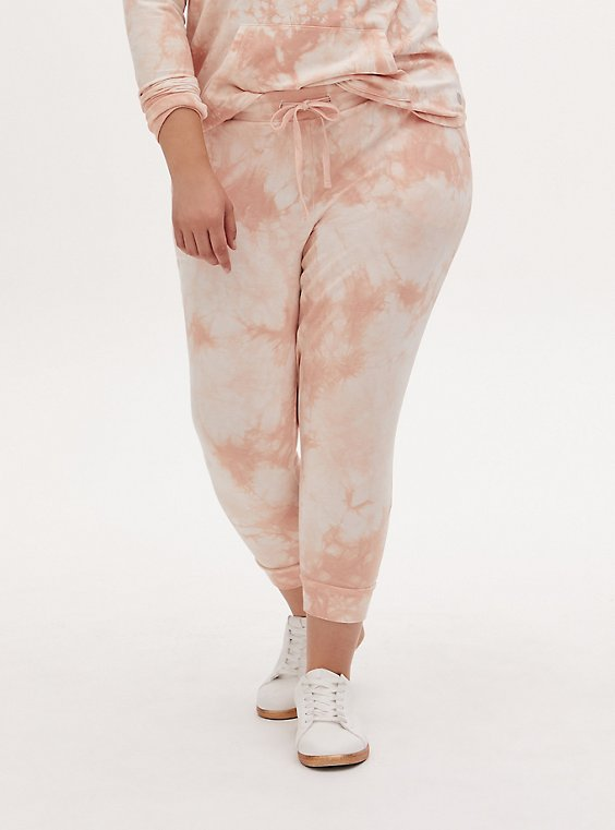 Light Pink Tie-Dye Terry Active Jogger, , hi-res