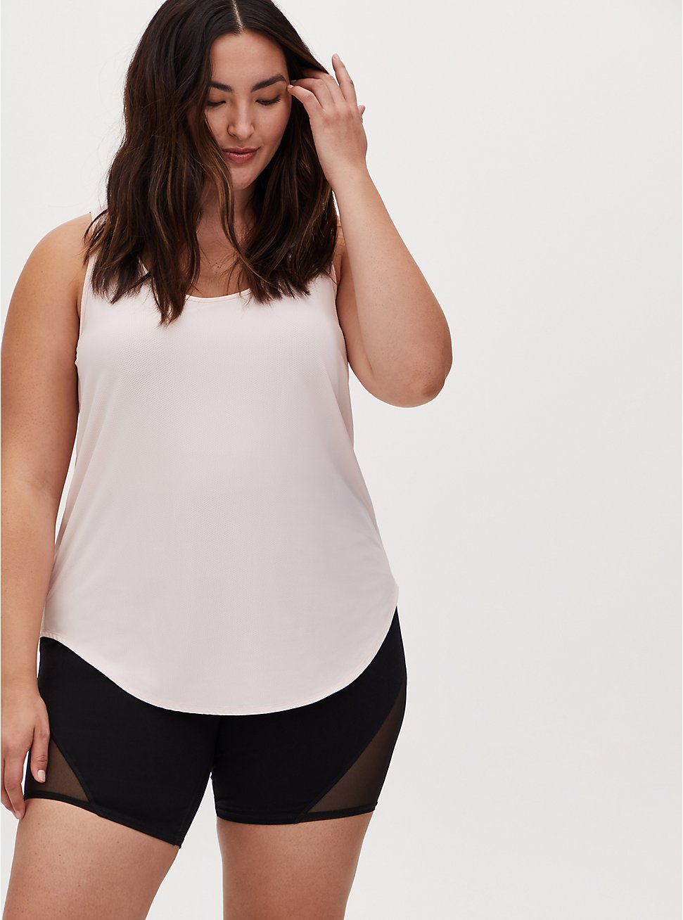 Light Pink Wicking Active Tunic Tank, PALE BLUSH, hi-res
