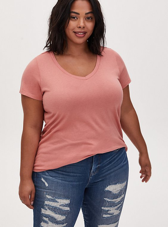 Classic Fit V-Neck Tee - Heritage Cotton Dusty Coral, , hi-res