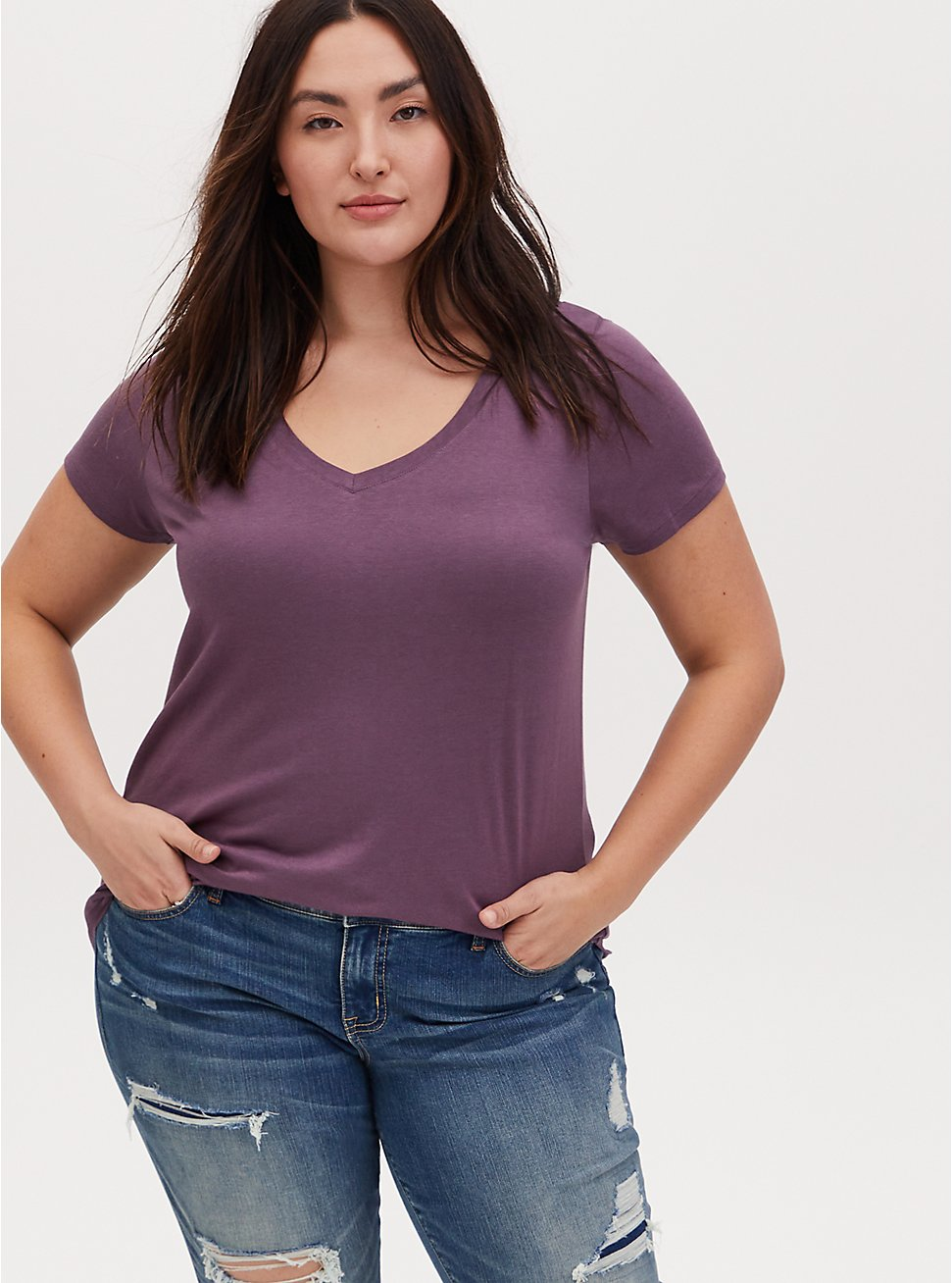 Classic Fit V-Neck Tee - Heritage Cotton Vintage Purple, VINTAGE VIOLET, hi-res