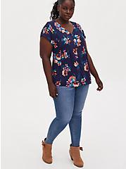 Plus Size Navy Floral Challis Button Fit & Flare Blouse, FLORAL - BLUE, alternate