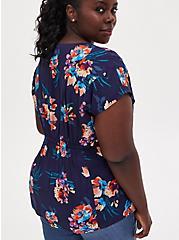 Navy Floral Challis Button Fit & Flare Blouse, FLORAL - BLUE, alternate