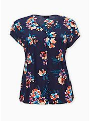 Plus Size Navy Floral Challis Button Fit & Flare Blouse, FLORAL - BLUE, hi-res
