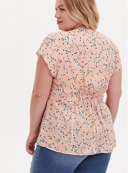 Peach Floral Challis Button Fit & Flare Blouse, HEART - BLACK, alternate