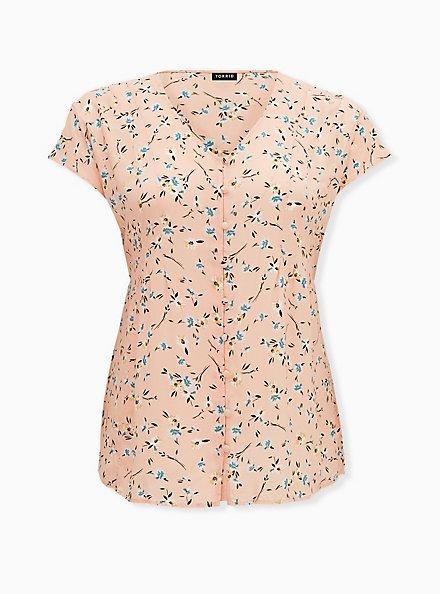 Peach Floral Challis Button Fit & Flare Blouse, HEART - BLACK, hi-res