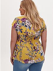 Yellow Floral Challis Button Fit & Flare Blouse, FLORAL - YELLOW, alternate