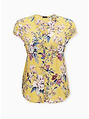 Yellow Floral Challis Button Fit & Flare Blouse, FLORAL - YELLOW, hi-res