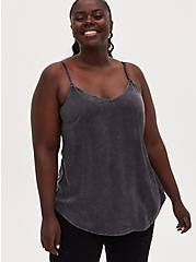 Ava - Dark Slate Grey Mineral Wash Stretch Challis Cami, NINE IRON, hi-res