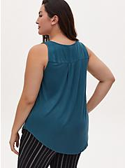 Teal Washed Twill & Knit Back Button Front Tank, DEEP TEAL, alternate