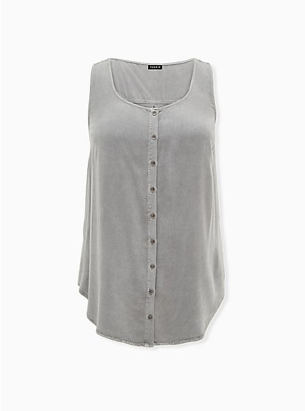 Washed Grey Twill & Knit Back Button Front Tank, GREY, hi-res